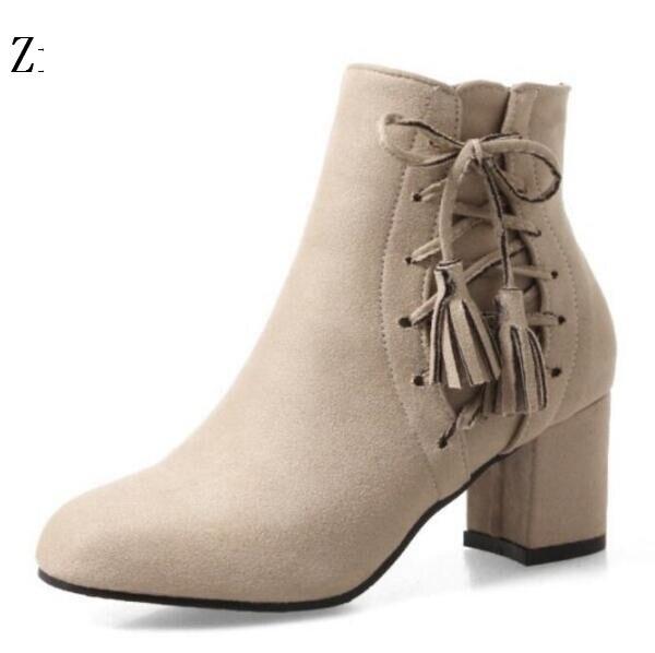 12c21a93a8a Invierno Bombas Boda Zapatos gray Mujer Señoras Moda Botas Tobillo  Chaussure apricot G61165 Tacones Niñas Martin ...