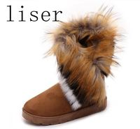 Winter Faux Fox Fur Boots Ankle Snow Boot For Women Middle Tube Female Footwear Warm Tassel Sneakers Flat Cotton Casual Shoes