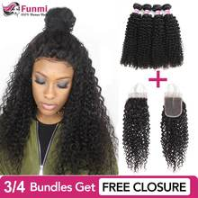 Buy Kinky Curly Hair Send Free Closure Unprocessed Brazilian Hair Weave Bundles 100% Virgin Human Hair Bundles Funmi Extension(China)