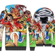 цены на Japanese Anime One Piece 3D Print Hoodie Men Luffy Hooded Sweatshirt Winter Thick Fleece Zip up Jacket The Pirate King Coat Mens  в интернет-магазинах
