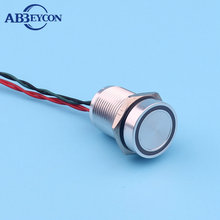 16mm Prolonged Pulse Momentary Ring led illuminated 12V stainless piezo switch flat head waterproof 300mm pre-wired touch switch