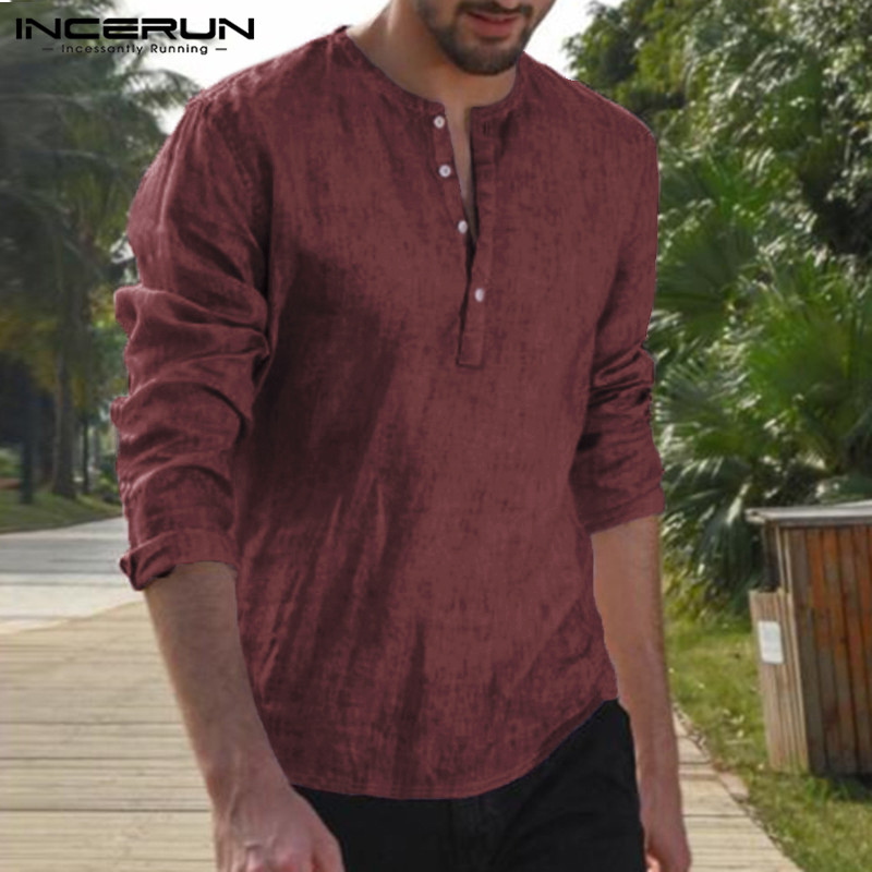 INCERUN Plus Size Men Casual Shirt Long Sleeve Breathable Tops Leisure Fashion A
