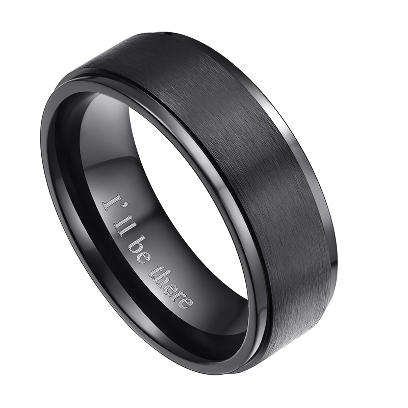 8MM Men Women Black Silver Brushed Titanium Ring Engagement Wedding Band Engraved Ill Be There Fashion Promise Jewelry Male