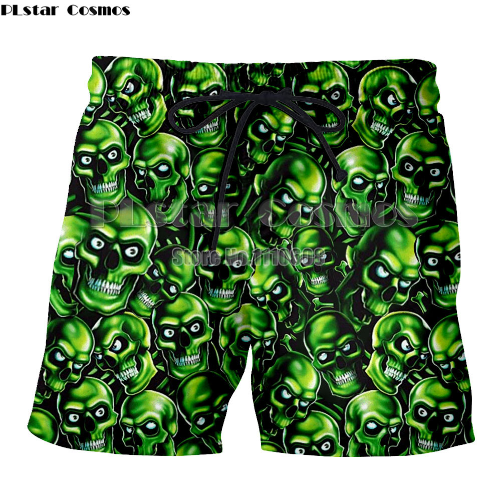 PLstar Cosmos Newest Green Skull Picture Polyester Loose Size Shorts Cool Cheap Trunks Men Women Beach Pants Sport
