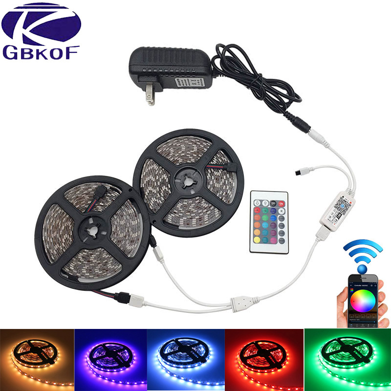 RGB DC 12V Led Strip Light WiFi SMD5050 3528 5M 10M 15M Waterproof 60leds/m neon flexible led Tape diode ribbon+Control+Adapter riri won smd5050 rgb led strip waterproof led light dc 12v tape flexible strip 5m 10m 15m 20m touch rgb controller adapter
