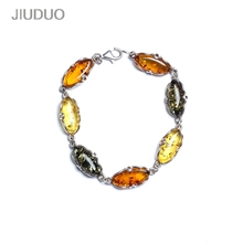 Natural amber silver bracelet fashion wild specials special package mail Genuine luxury JIUDUO jewelry jiuduo fashion natural baltic amber beeswax female necklace pendant 925 silver design factory direct special package mail