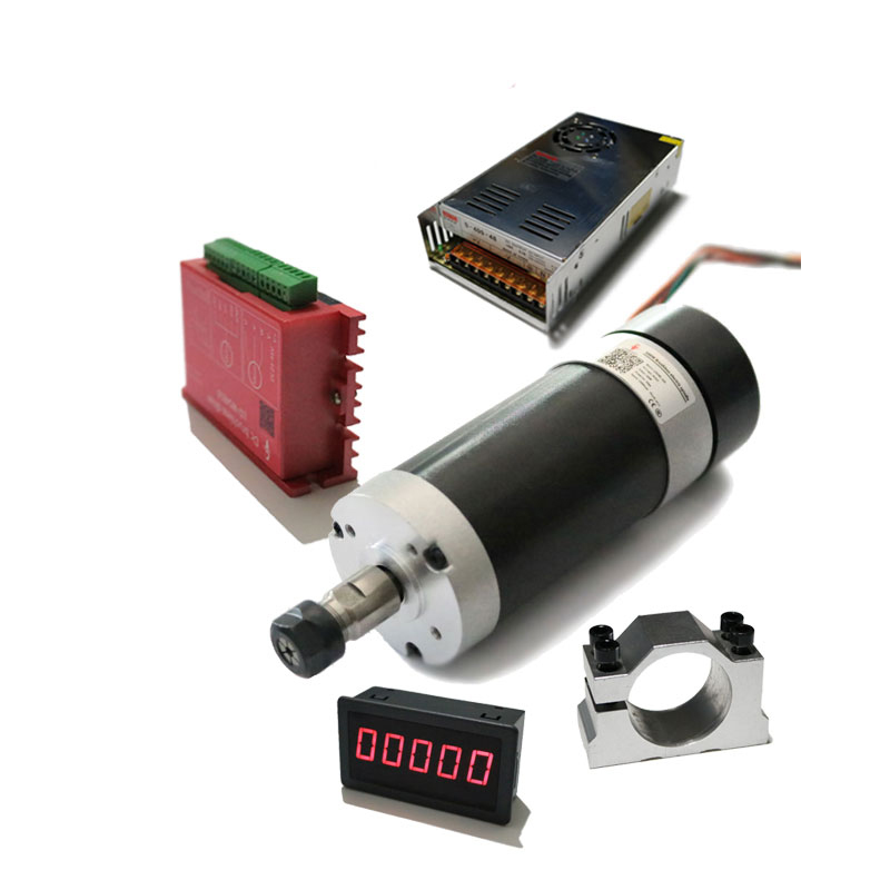 500W 20A DC24V Brushless Spindle Motor 12000rpm 0.629N.m Driver Speed Meter Air cooled for DIY engraving machine drilling