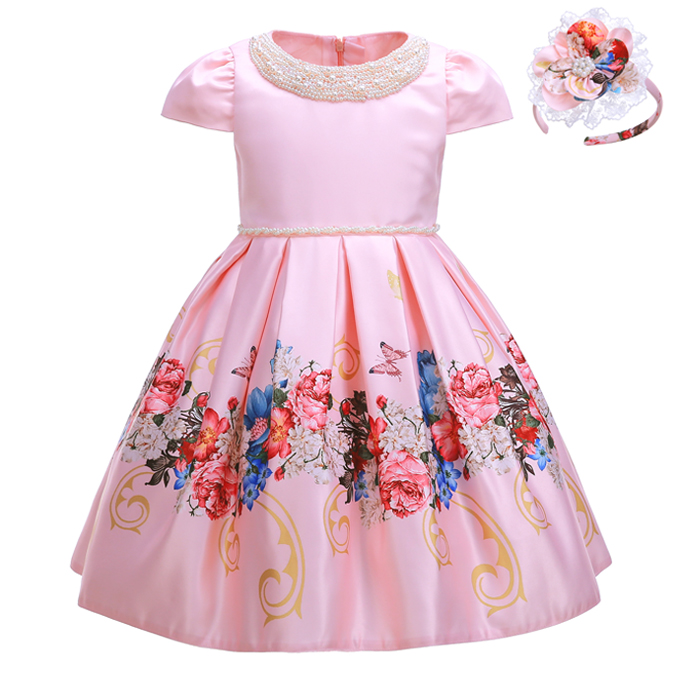 Pettigirl 2020 New Flower Girl Dress With Beading Collar Pink 