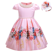 Pettigirl 2020 New Flower Girl Dress With Beading Collar Pink Girls Party Dresses Wedding Boutique Kids Clothes With Headwear