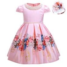 Pettigirl 2020 Nuovo Vestito Dalla Ragazza di Fiore Con Perline Collare di Colore Rosa Delle Ragazze Del Partito Abiti Da Sposa Boutique di Abbigliamento Per Bambini Con Copricapi