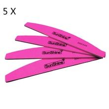 5 Pcs/lot Sunshine Pink Nail Art File 200/240 Double Side Curved Manicure Tool Buffing Sanding Files Nail Polish Tool Nail File