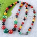 Free shipping Natural Jade  6~12mm Round Graduated Beads Necklaces Jewelry 17'' IF1044