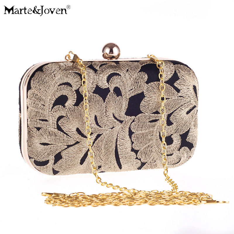 32ac86bab5da Vintage Embroidered Ladies Black Small Clutch Bag Classic Clutches Designer  Gold Evening Bags for Women Party Shoulder Bags-in Top-Handle Bags from  Luggage ...