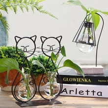 O.RoseLif New Eco-friendly Tabletop Plant Flower Cat Glass Vase With Iron Holder Wedding Decorative Home  Decoration Accessories