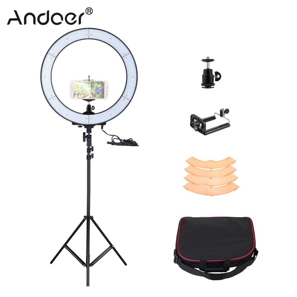 Led Ring Light Studio: Andoer LA 650D 5500K 40W 600 LED Ring Light Kit