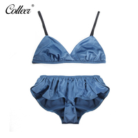 COLLEER Women S Sexy Underwear Set Solid None Unlined Wire Free Adjusted Straps Bra Sets S