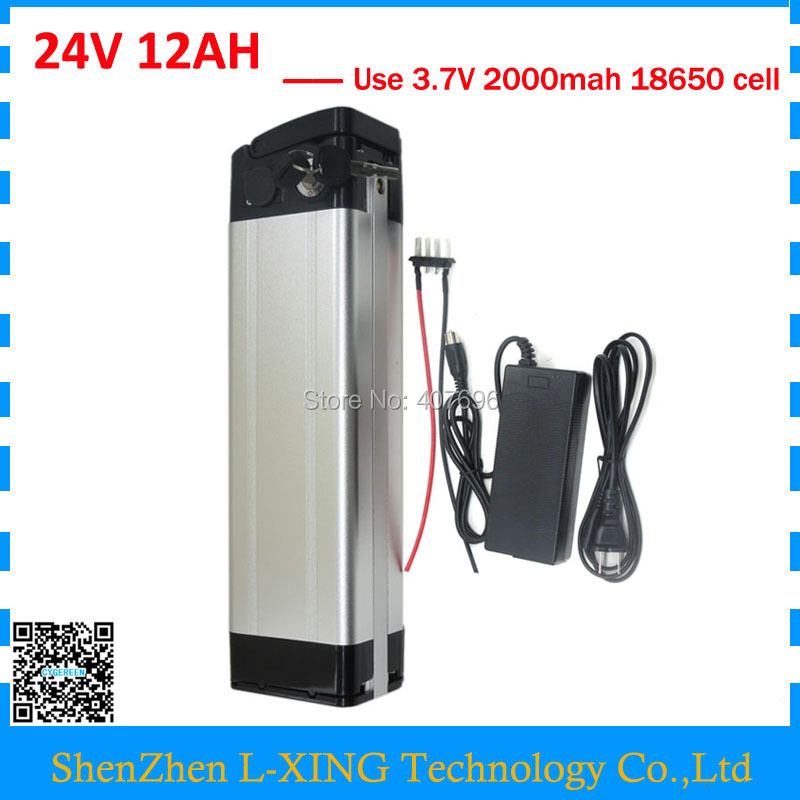 Electric bike battery 24v 12ah 350W 24 V 12AH Silver fish battery 15A BMS with 2A Charger Bottom discharge Free customs fee hot sale bottom discharge electric bike 36v 8ah li ion battery 36v 8ah electric bicycle silver fish battery with charger bms