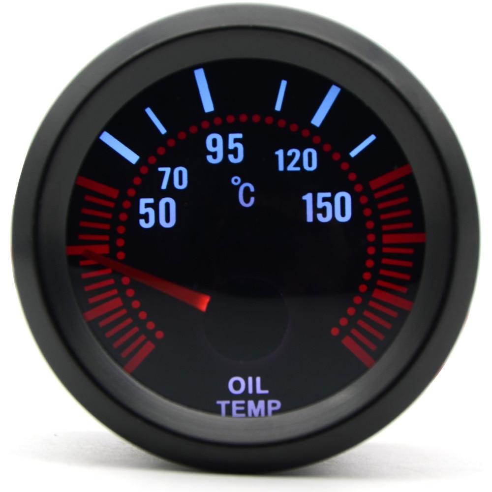 2'' 52mm Universal Smoke Lens Oil Temp Temperature Gauge 50-150C LED With Oil Temp Sensor Car Gauge