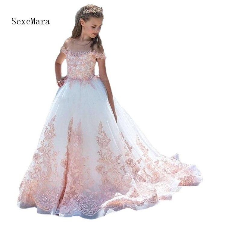 Новые розовые кружевные белые платья в цветочек для девочек для свадьбы Короткие рукава Первое Причастие Платья для девочек детские пышные
