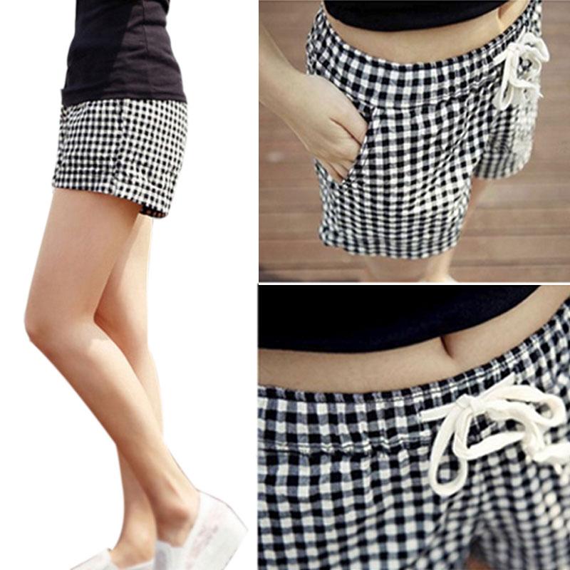 Hot Fashion Women Plaid Shorts Casual Loose Elastic Waist All-Match Summer Cotton Short Pants Plus Size 4XL HD88