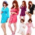 Mulheres Kimono Cetim Porn camisola Sexy Mulheres Robe Sexy Lingerie Hot Pijamas Sexo Trajes Vestido Com G-string 6 cores