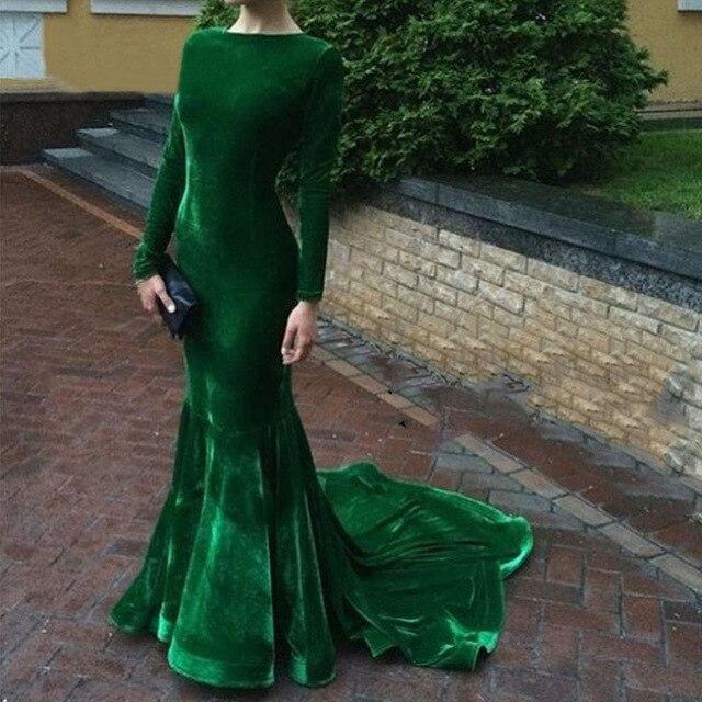 cae338ff2317 Elegante Manica Lunga Abiti Da Sera in Velluto Verde Smeraldo di Promenade  Della Sirena Vestito Da