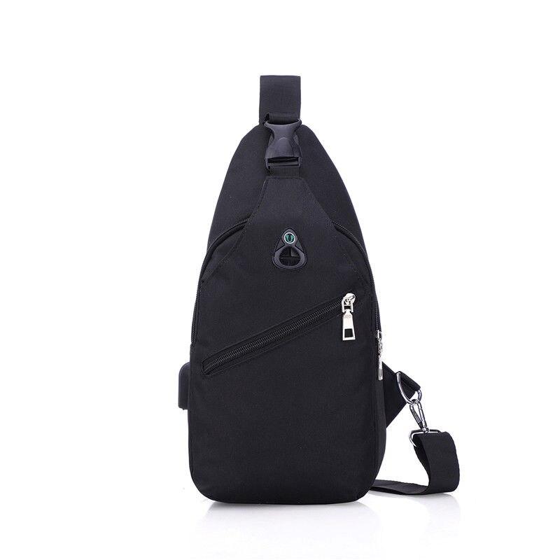 Летняя сумка для мужчин и женщин, слинг на груди, через плечо, дорожный холщовый материал, однотонный черный цвет