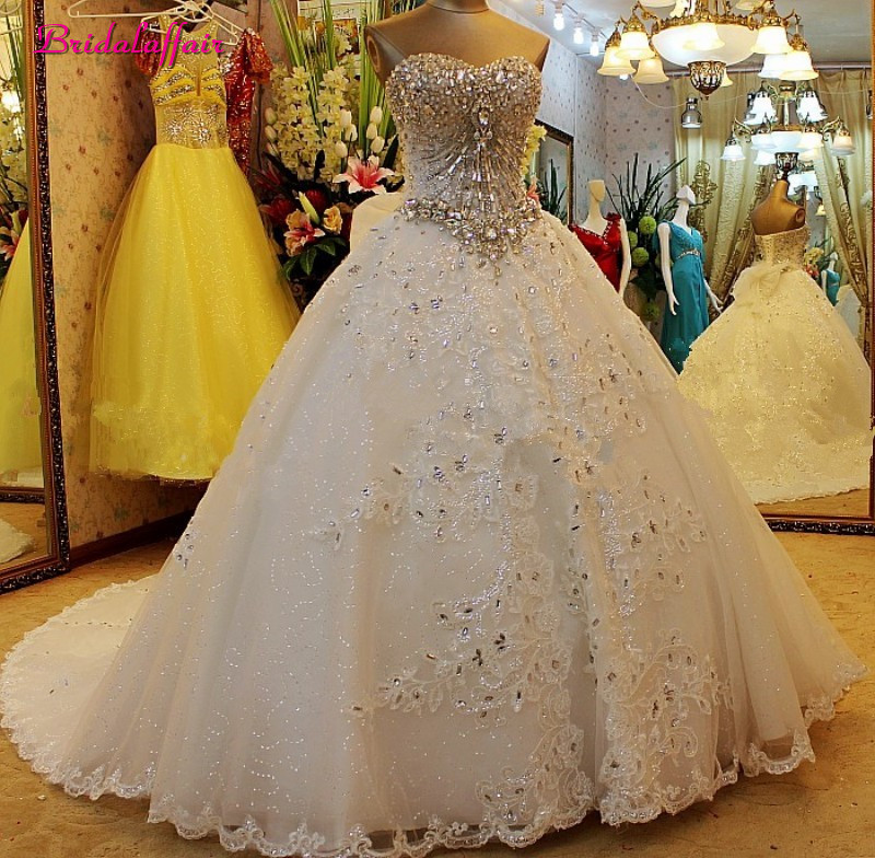 Luxury Pearls Wedding Dress A Line Shiny Wedding Gown Sweetheart Corset Wedding Dresses 2019 Customized Plus Size Bridal Gown