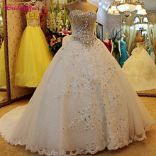 Роскошное Свадебное платье с жемчугом А-линия блестящее свадебное платье, лиф сердечком Свадебные платья с корсетом подгонянного размера плюс свадебное платье