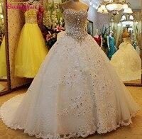 Luxury Pearls Wedding Dress Long Sleeves Wedding Gown Sweetheart Corset Wedding Dresses 2019 Customized Royal Train Bridal Dress