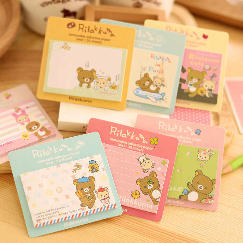 1 Pcs Kawaii Bear Memo Pad Kartun Hewan Sticky Notes DIY Alat Tulis Scrapbooking Lucu Planner Stiker Sekolah Office Supplies