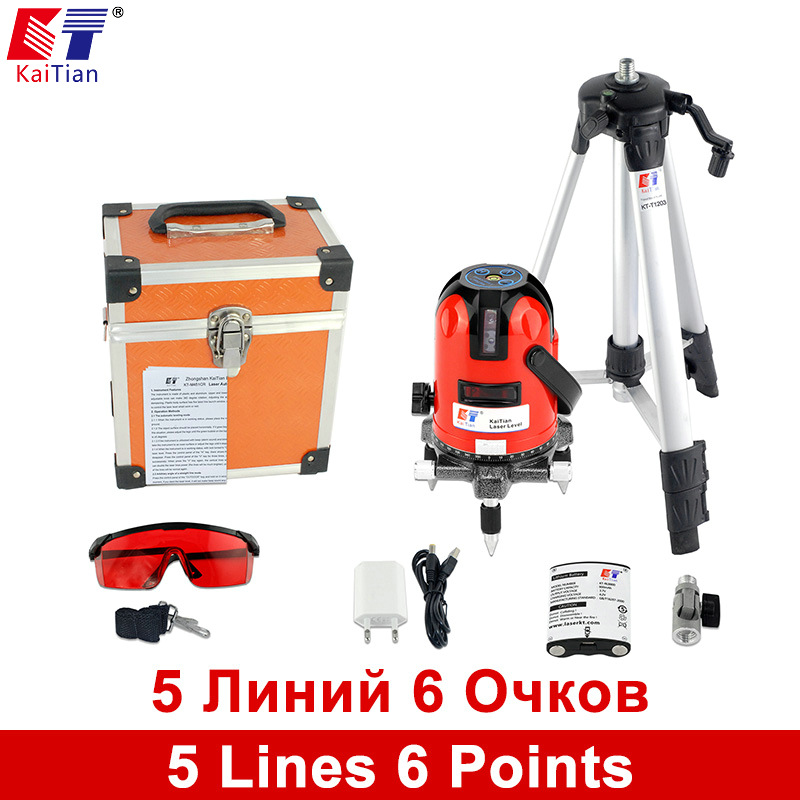 Kaitian Laser Level 5 Lines 6 Points with Battery Tripod 360 Rotary Tilt Slash Function Outdoor Vertical Horizontal cross Lasers xeast xe 50r new arrival 5 lines 6 points laser level 360 rotary cross lazer line leveling with tilt function