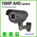 AHD 1080 P 2MP câmera de segurança de alto desempenho cabo lente zoom varifocal 2.8-12mm OSD IR-CUT forte parede-suporte montado