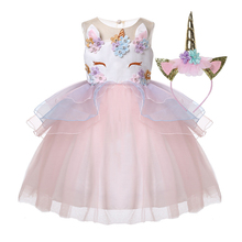 2019 Flower Girls Dress Unicorn+ Headband 2Pcs Kids Clothes Baby Princess Dress For Girls Lace Ball Gown Wedding Party Dresses 2016 new wedding party flower lace dress for girls winter long sleeve baby clothes princess party costume kids dresses for girls