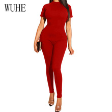 WUHE Summer Women Office Work Elegant Playsuits Casual Black Red Blue Skinny Rompers Female Streetwear Short Sleeve Jumpsuits
