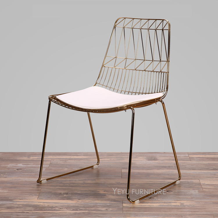 Modern classic wire chair rose gold or gold color harry for Design stuhl vintage