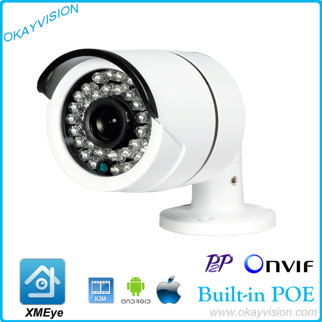 DC48V POE 1920 x 1080P 2.0MP Waterproof Bullet IP Camera Outdoor CCTV Camera ONVIF Night Vision P2P IP POE camera