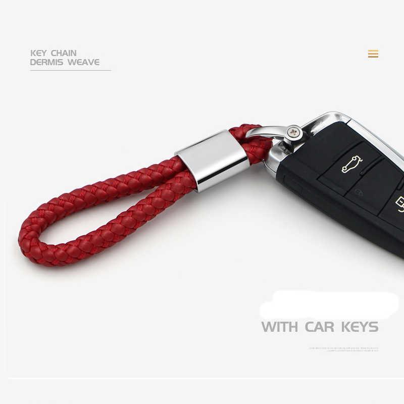LLavero de coche de Metal + cuero de Pu trenzado Auto llavero regalo para BMW Benz VW Audi KIA Mazda Porsche MG hyundai Suzuki Lexus
