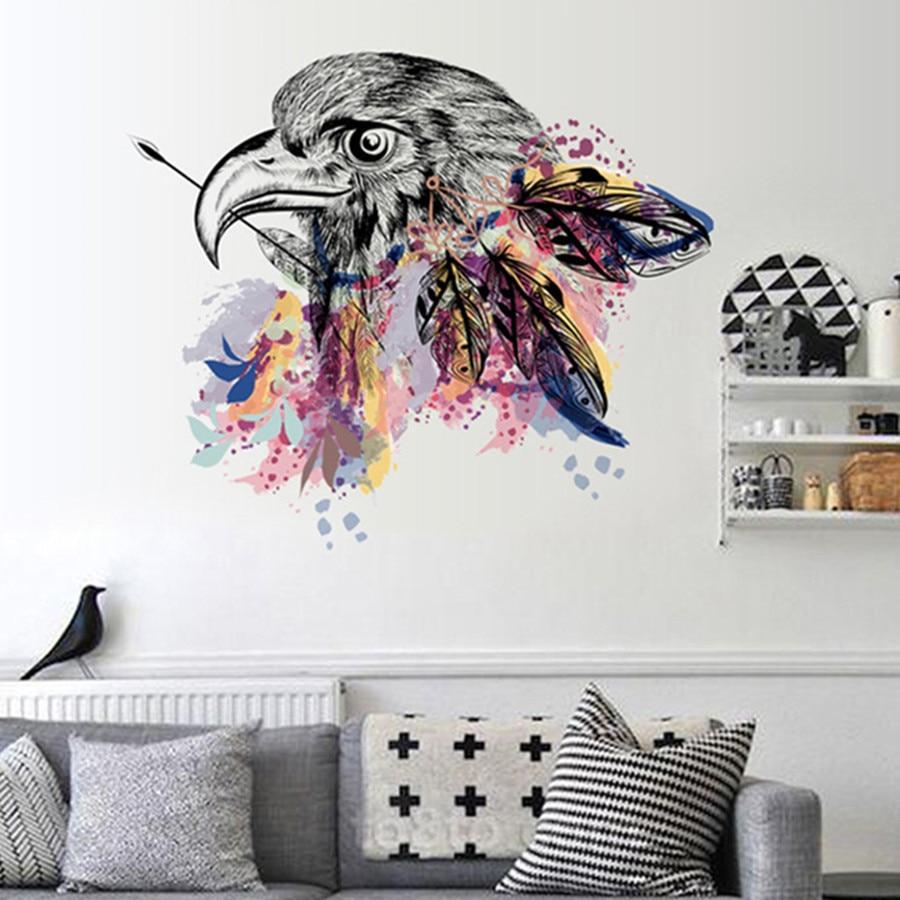 Aliexpress Com Buy New Design Creative Diy Wall Stickers: New Design Creative DIY Modern Simple Eagle Head Feather