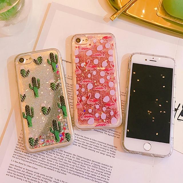 super popular c90c7 f2b80 US $4.88 |Fashion Cactus Glitter Liquid Quicksand Cute Phone Case For  iPhone 8 8 Plus 7 6 6s 6/6splus 7plus Pineapple Mobile Phone Bag-in Fitted  Cases ...