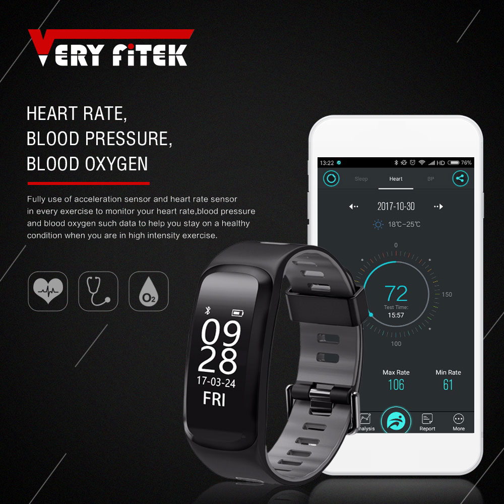 VERYFiTEK V2 Smart Wristbands Heart Rate Monitor Blood Pressure Fitness Tracker Pedometer Blood Oxygen Bracelet Smartband