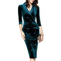 Spring Winter Dress Women Vintage Velvet Dress Plus Size 6XL Elegant Sexy Bodycon Evening Party Office Lady Wear Luxury Brand