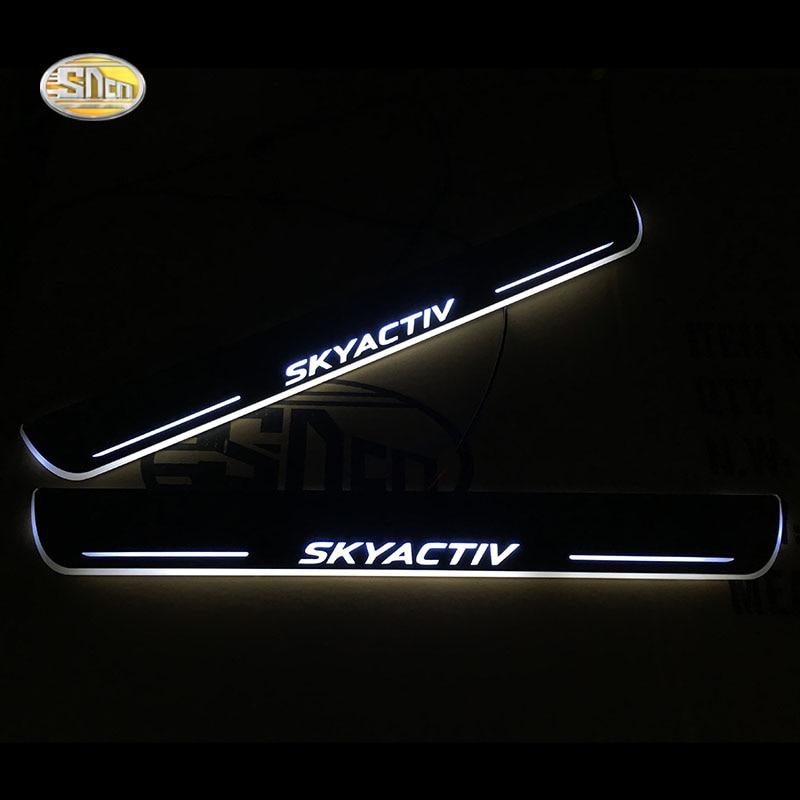 SNCN LED seuil de porte à Led lumières mobiles porte seuil de porte de plat d'usure bienvenue pédale pour Mazda 3 2009-2016