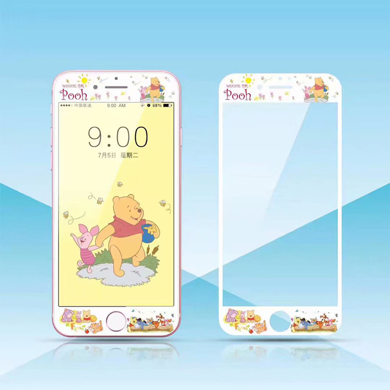 3D Nano Full Cover Cartoon Cute Lovely Mickey Pooh Bear Pattern Tempered Glass Screen Protector Film for iPhone X 8 7 6s 6Plus