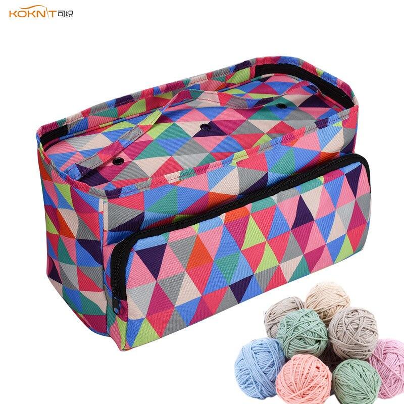 KOKNIT Woolen Yarn Storage Bag Home Crochet Hooks Thread Yarn Storage Case DIY Sewing Kit Bag Travel Organizer Bag For Mom Gift