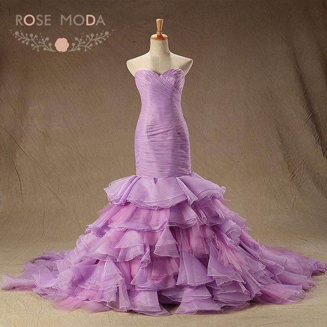 Rose Moda Purple Wedding Dress Organza Mermaid Wedding Dresses Plus Size  Real Photos