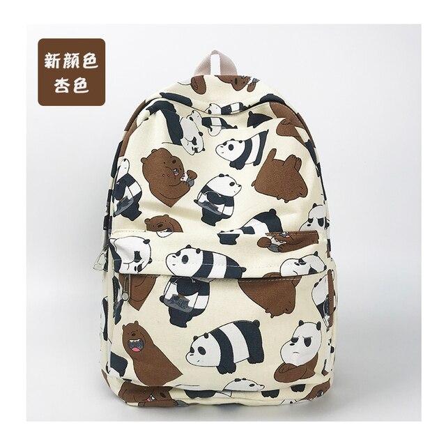 17dfc42a422ba6 Children's We bare bears canvas Backpack ice bear panda grizzly laptop bag  School Bags bookbag rucksack