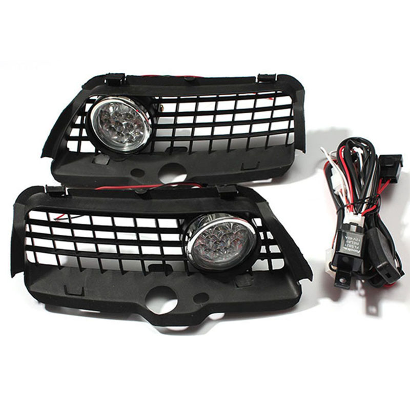 1pair 12V Super bright light LED Fog Light DRL Driving Bumper Grille For VW MK3 Golf Jetta 92-98 6000K dongzhen fit for 92 98 vw golf jetta mk3 drl daytime running light 8000k auto led car lamp fog light bumper grille car styling