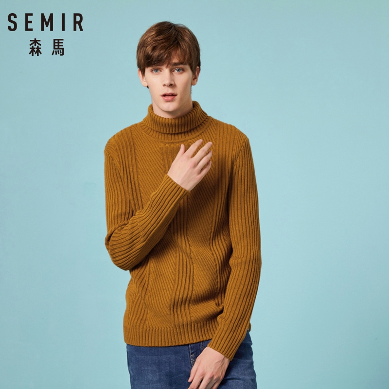 SEMIR Sweater Men Woolen Knitwear Men HIGH Neck Long Sleeve Slim Warm Sweaters DOUBLE Pull Homme Beige Pulllvers Knitwear