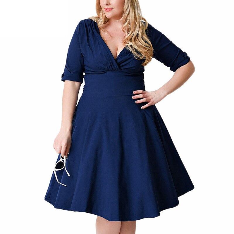 Women 1950s Half Sleeve V neck Retro Plus Size 8XL 9XL A line Dress Elegant Stretchy Cocktail Knee Length Swing Dress 2018